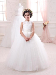 Wholesale Girls Bridal Wear - 2016 Cheap Ivory Bridal Flower Girls Dresses for Weddings Elegant Crew Neck Sleeveless Lace Tulle Kids Formal Wear ba1494