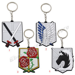Wholesale Attack Titan Key Chain - Hot 20pcs Attack on Titan Affiliation Corp PVC Badge Key Ring Chain Cospaly