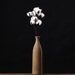 Wholesale Wedding Flower Vase Centerpiece - Artificial Flowers 10 pcs Cotton Boll Floral Spray Bunch 11.8in Farmhouse Style Floral Display Filler Rustic Wedding CenterpieceVase Fille