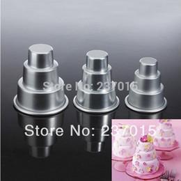 Wholesale Tin Decorated Mold - 3pcs Mini 3 Tier Cake Baking Pan Tin Sugarcraft Tools Decorating Aluminum Pastry Mold Set
