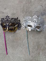 Wholesale Handheld Venetian Masquerade Masks - Men's Masquerade Mask on a Stick Half Face Mask Venetian Crown Glitter Handheld Stick Mask Halloween Mardi Gras Costume