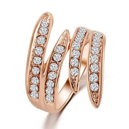 Wholesale Gold Rhinestone Wings Ring - Fashion 18K Rose Gold Wedding Rings For Women High Quality Zircon Brand Angle Wing Women Rings Party Jewelry