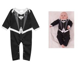 Wholesale Romper Tie - New Long sleeve gentleman Bow tie baby rompers boys jumpsuits infant clothes Baby One-Piece & Romper 6pcs  lot C001