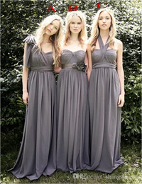 Wholesale Grey Chiffon Bridesmaid Dresses - 2017 Wendy Grey Bridesmaid Dresses Favorable Convertible A Line Three Styles For Choice Sweep Train Chiffon Junior Bridesmaid Dress