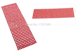 Wholesale Self Stick Rhinestones Crystals - Wholesale-990pcs 4mm Rhinestones Self Adhesive Diamantes Stick On Crystals Beads Nail Art Car RED