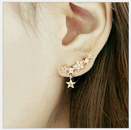 Wholesale Small Rhinestone Earrings - New Rhinestones Needle Earring Studs Small Star pendant Korean Style Allergy Piercing Charm Earrings Fashion Jewelry Alloy C026