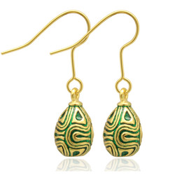 Wholesale Easter Egg Earrings - silver and gold Plating fashion CIRCLE LINE faberge egg charm drop earring in Russian style for Easter Day