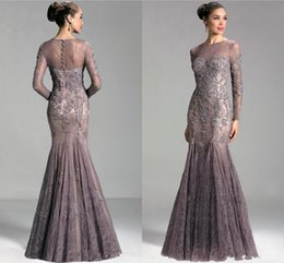Wholesale Janique Long Sleeves Gown - Janique 2018 Arabic Dubai Elegant Long Sleeves Evening Dresses Jewel Neck Illusion Beaded Lace Mermaid Long Sleeves Party Prom Gowns Vestido