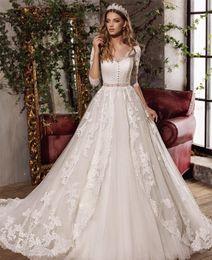 Wholesale Belt Bridal Sashes - C.V Half Sleeve Beaded Belt Bridal Vintage Wedding Gown 2017 V neck Lace Appliques Embroidery Bow Sashes Princess Wedding Dresses W0054