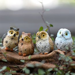 Wholesale Fairy Figurines - 4 style cute artificial owl figurines miniatures lovely birds fairy garden gnome resin crafts decorations accessories for home