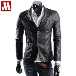 Wholesale Genuine Leather Jackets For Mens - Wholesale- big size M-6XL free shipping new leather jacket for men casaul slim pu leather jackets Mens fashion Leather Suit waterproof coat