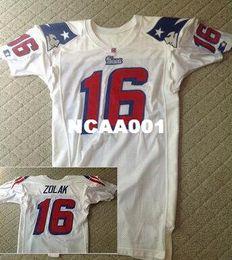jersey patriota negro Rebajas Hombres Scott Zolak # 16 Equipo emitido 1990 White College Jersey talla s-XXXL o personalizada cualquier nombre o número jersey