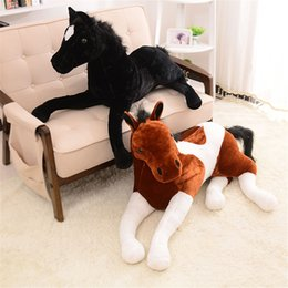 Wholesale Horse Plush Doll - Simulation Animal Horse Plush Toy Stuffed Soft Prone Horse Doll 130x60cm 4 Colors Birthday Christmas Gifts