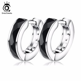 Wholesale Nickel Free Stud - ORSA JEWELS 2017 Top Quality Fashion Black Natural Stone Earring Lead & Nickel Free Silver Color Earrings Will Not Changed OE83