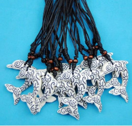totem pendant Coupons - Wholesale Lot 12PCS Faux Yak Bone Carving Tribal Style Frog Sun lovely turtles Totem Dolphins pendants Necklace couple gifts