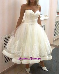 Wholesale Cheap Lace Shirts Women - Arabic Vintage Tea Length Wedding Dress White Bow Puffy Skirt Sweetheart Lace Up Women Bridal Gowns 2016 Custom Made Cheap Short Ball Gown