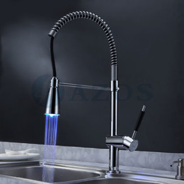chrome pull out led with best reviews - Kitchen Sink Faucet Led Light Free Swivel Spring Hose Pull Out Down Spray Waterfall Chrome Polish Brass Single Handle Mixers