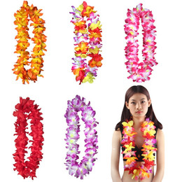 Wholesale Fun Necklaces - Hot Hawaiian leis Party Supplies Garland Necklace Colorful Garland Fancy Dress Party Hawaii Beach Fun Decorative Flowers IB545