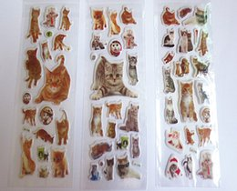 Wholesale Cell Phone Pets - stickers for kids pet cat cute cat real cat photos kitten kitty PVC puffy 3D Cell phone Iphone diary album stickers