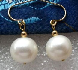 Wholesale hook freshwater pearl earring - New natural beautiful Jewelry Chinese Exquisite Genuine HOT charming 9-10mm White Freshwater Pearl Dangling Earrings 14K GP Hook