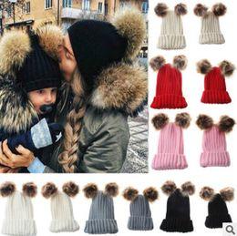 Wholesale Crochet Muff - Family hat infant winter knit crochet caps children double faux fur beanie hat mother dauther son boy girls outdoor ski warmer cap R0698