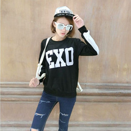 Wholesale Exo Kris - FG1509 2015 New Korea Women O-Neck KPOP EXO Luhan Kris Print Loose Black White Patchwork Sweatshirt Female Brand Hoodies