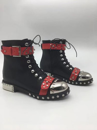 Wholesale Martin Style Combat Boots - 2017 Punk style Boots women rivets studded leather Ankle Boots Round toe side lace up Strap buckled martin short boots Combat Booties Women