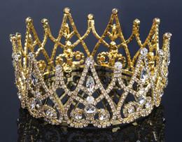 Wholesale Bridal Hair Tiara Veil - NEW Gold Shining Crystals rhinestone Baroque Wedding Crowns Bridal Veil Tiara Crown Headband Hair Tiara crowns 15*7.2CM HH03