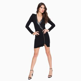 Wholesale Metal Tights - Europe sexy suit collar metal zipper stitching package hip tight dress coat