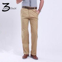 Wholesale Premium Pants - Wholesale- XMY3DWX New fashion male slim Fit Business trousers Men's premium brand pure color Casual pants Large size 28-38