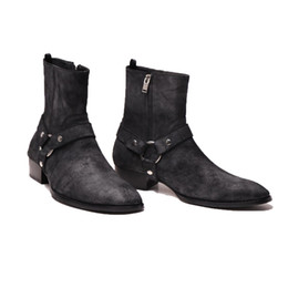 Wholesale face picture - real picture high top quality England Wax face scrub suede genuine leather vintage luxury ankle strap wyatt Chelsea men Boots slp catwalk