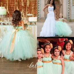 Wholesale Green Ball Gown Wedding Dresses - Lovely Mint Green Flower Girls' Dresses 2015 Dress Spaghetti Straps Empire Sash Ball Gown Floor Length Wedding Party Gown Girl Pageant Dress