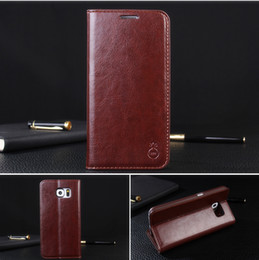 Wholesale Galaxy S3 Wallet Pouch - New Genuine Leather Case For Samsung Galaxy Note 4 NOTE 5 Leather Case Wallet Case Stand Cover Pouch with Card Slot For S7 S6 Edge S5 S4 S3