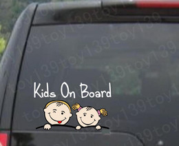 "Wholesale Cartoons Cars Kids - Baby on Board ""KIDS ON BOARD"" Vinyl funny Car phone window Decal Sticker reflective silver color"