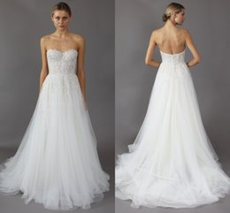 Wholesale Mira Zwillinger Wedding Dresses - 2017 Backless Wedding Dresses Mira Zwillinger Sexy Sweetheart A-Line Appliques Lace Beaded On Top Beach Bridal Gowns