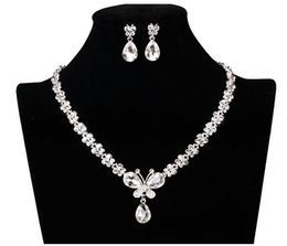 Wholesale Cheap Anchor Earrings - Wedding Jewelry Shining New Cheap 2 Sets Rhinestone Bridal Jewelery Accessories Crystals Necklace and Earrings for Prom Pageant Party XM001