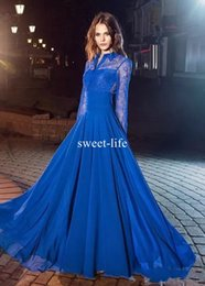 Wholesale Red Light Sapphires - Cheap Sapphire Blue 2017 A-Line Evening Dresses High Collar Long sleeve Illusion with Lace Appliques Empire Chiffon Floor-length Prom Dress