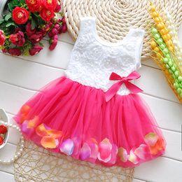 pétalas de flores vestido Desconto Verão Da Criança Meninas Vestem Flor Rosa pétalas Coloridas Gauze Bebê Tutu Vestidos Sem Mangas Crianças Colete Vestido de Princesa 2015 Trajes