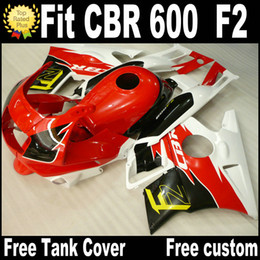 honda cbr f2 red fairings Promo Codes - Motorcycle fairings for HONDA CBR 600 1991 1992 1993 1994 F2 CBR600 91 - 94 red black white plastic fairing kit RP11