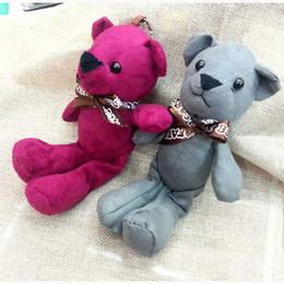 Wholesale Korean Soft Toys - 2016 New Design Korean 18CM Brown Velvet Teddy Bear Stuffed Bear soft toys DIY jewelry necklace doll creative hanging bag key chain