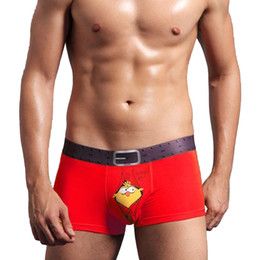 Wholesale Sexy Underwear For Men Boxers - Luxury Men Underwear Plus Size Cute Birdie Printed Soft Bamboo Fiber Boxers Sexy U Convex Pouch Erotic Underpants Fit For Hombre LB