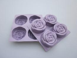 Wholesale Soap Mold Sizes - 5 pcs lot 100% big size silicone purple rose cake mold, silicone soap mold, cake pans, baking pans FDA+free shipping