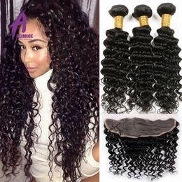 Wholesale Wholesale Virgin Wigs - 13*4 Lace Frontal Closure Grade 7A Peruvian Virgin Hair Deep Wave 3 Bundle Deals Peruvian Deep Wave With Frontal Closure HotSell