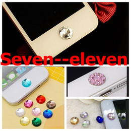 Wholesale Bling For Ipad Button - 2015 hotselling Colorful hotselling Crystal home button stickers bling diamond stickers for iphone for ipad seven--eleven
