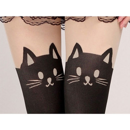 Wholesale Cat Leggings Woman - 151206 New! Summer Women Cute Cat Tail Leggings Female Catoon Stocking Sexy Sheer Pantyhose Stockings Long Sexy Stocking Quality first