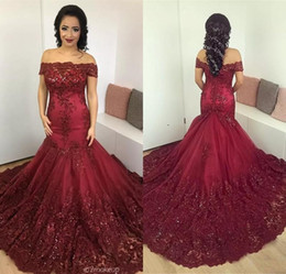 Wholesale Back Corset Prom Long Elegant - Elegant Burgundy Mermaid Evening Dresses 2017 Arabic African Lace Prom Dress Sequined Appliques Corset Back Court Train Evening Gowns