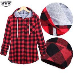 Wholesale Plaid Shirts Hoods - Wholesale- Man si Tun New Kanye West Hip hop Plaid Shirt Men High Street Fashion Swag Clothing Loose Hipster Longline HOOD Chemise S-XXL