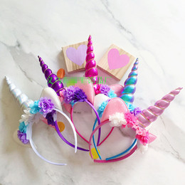 Wholesale Color Hair Bands - Unicorn Hair Sticks boutique Headbands for girls birthday party baby floral headband Girls Flower hair band Children Hair Accessories A832
