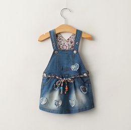Wholesale Girls Denim Overalls Skirt - Spring Summer Children Dress Girls Denim Brace Skirt Kids Overalls Jeans Applique Suspender Skirt Children Denim Dresses With Belt