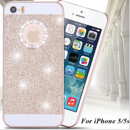 Wholesale Diamond Logo Iphone - Hot Rhinestone Diamond Phone Case Bling Logo Window Luxury Cover for Apple Iphone 4S 5S 6S Plus Shinning Shiny back cover Sparkling case